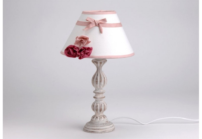 lampe poser abat jour romantique rose amadeus amadeus am 105946. Black Bedroom Furniture Sets. Home Design Ideas