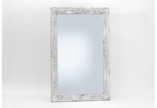 Miroir rectangulaire shabby chic blanc antique amadeus