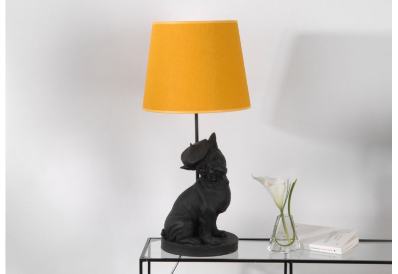 lampe bulldog noir avec abat jour jaune amadeus amadeus 19135. Black Bedroom Furniture Sets. Home Design Ideas