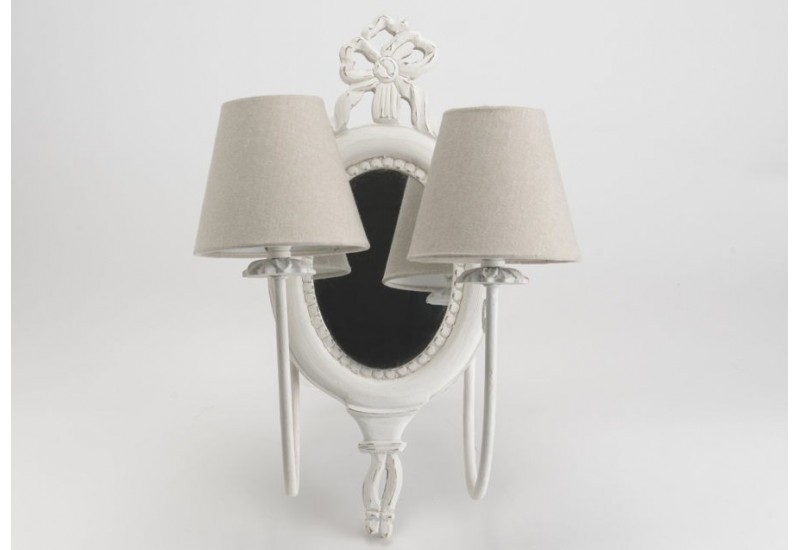 double applique avec miroir marquise blanche amadeus amadeus 19225. Black Bedroom Furniture Sets. Home Design Ideas