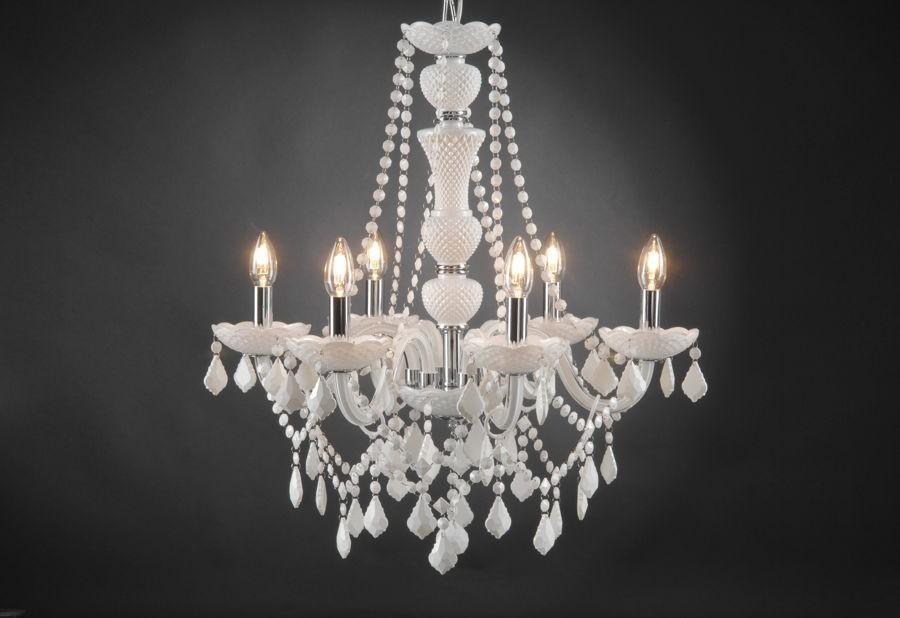 Lustre trianon blanc 6 lampes à pampilles amadeus amadeus 19282