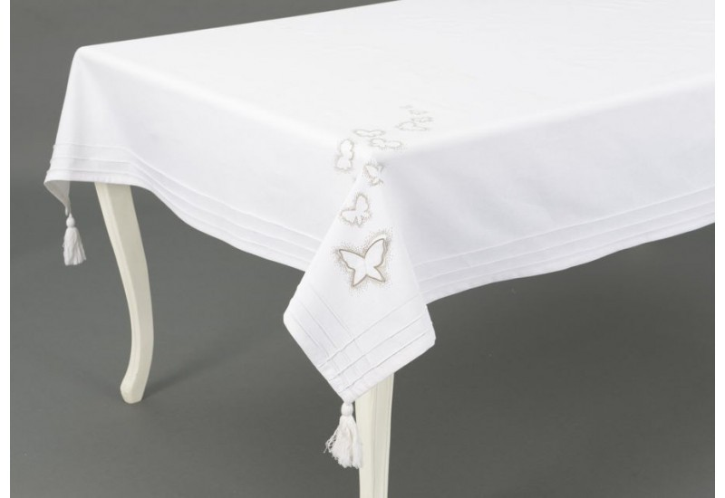 nappe rectangulaire blanche envolee 150x250 cm amadeus amadeus 19333. Black Bedroom Furniture Sets. Home Design Ideas