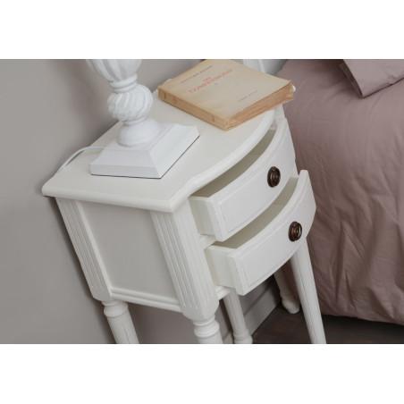 Chevet 2 tiroirs blanc style louis xv agathe amadeus