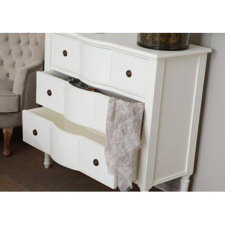 Commode romantique 3 tiroirs blanc style louis xv agathe Amadeus
