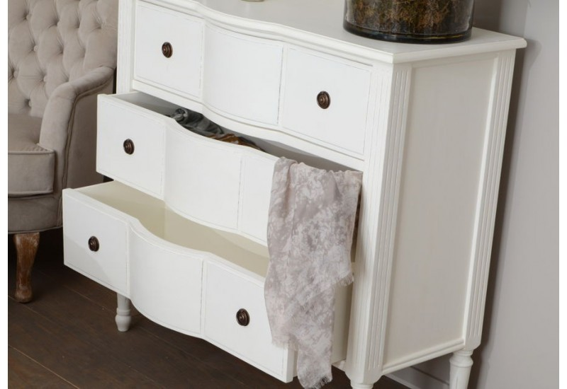 commode romantique 3 tiroirs blanc style louis xv agathe. Black Bedroom Furniture Sets. Home Design Ideas
