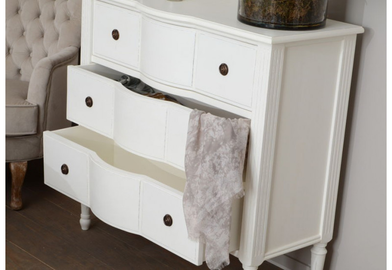 commode romantique 3 tiroirs blanc style louis xv agathe amadeus am. Black Bedroom Furniture Sets. Home Design Ideas