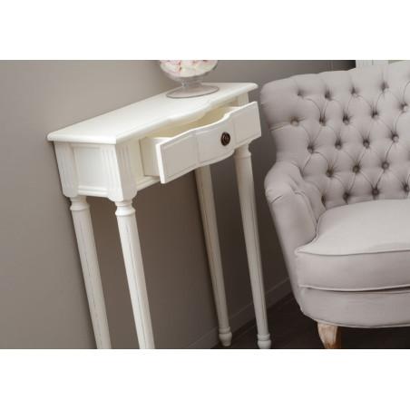 Console romantique de couloir 1 tiroir blanche agathe Amadeus