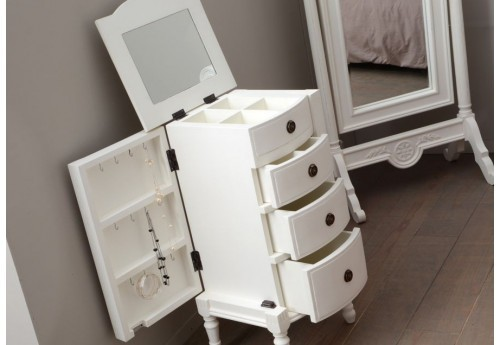 meuble a bijoux romantique blanc 3 tiroirs 2 portes agathe amadeus. Black Bedroom Furniture Sets. Home Design Ideas