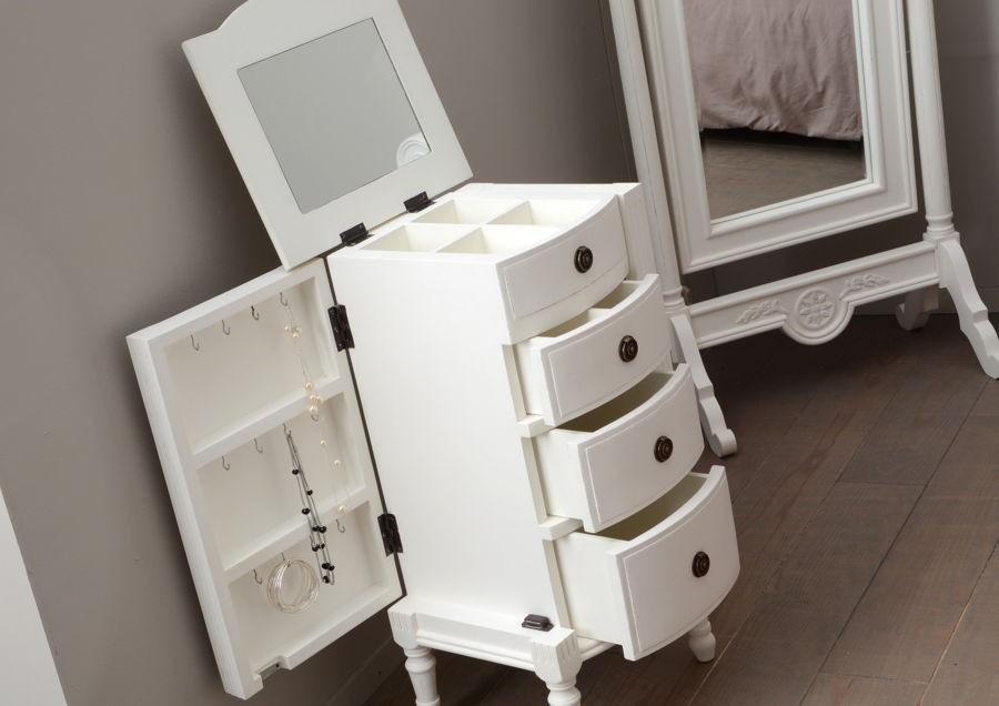 meuble a bijoux romantique blanc 3 tiroirs 2 portes agathe amadeus