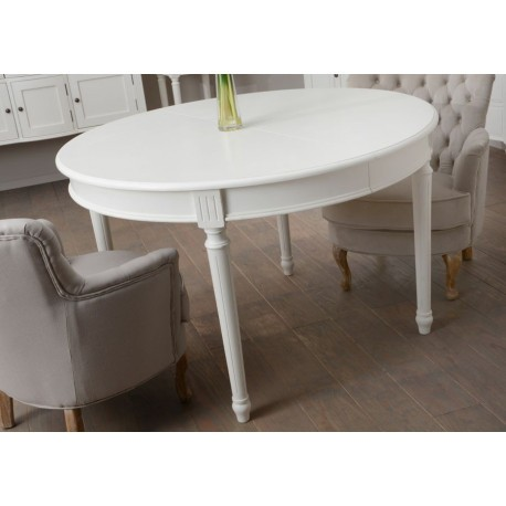 Table Manger Ronde Allonge Blanche Romantique Agathe Amadeus Am