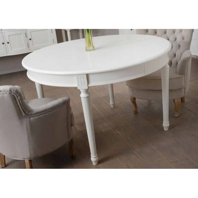 Table manger ronde allonge blanche romantique agathe amadeus am - Table a manger ronde blanche ...