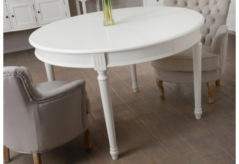 Table manger ronde allonge blanche romantique agathe for Table a manger ronde