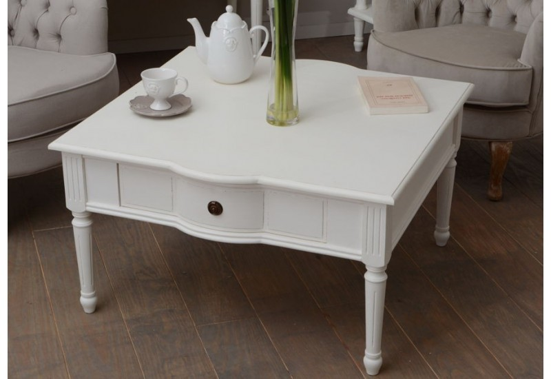 table basse carr e blanche romantique avec 1 tiroir agathe amadeus. Black Bedroom Furniture Sets. Home Design Ideas