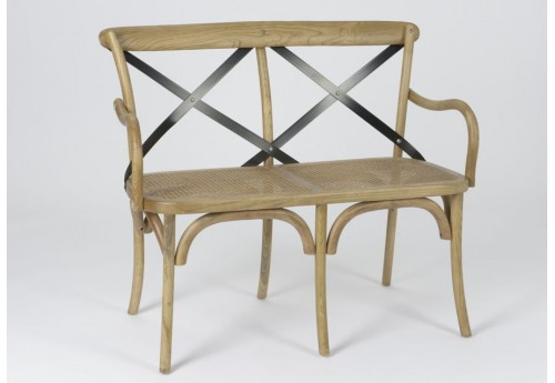 Banc croisillon métal naturel assise cannage amadeus
