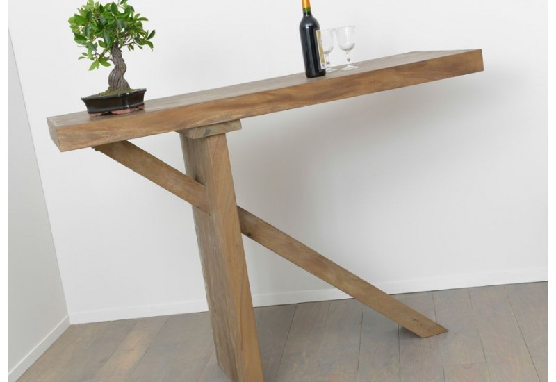 Table bar en bois massif meh nature amadeus amadeus 19621 for Table bar haute bois