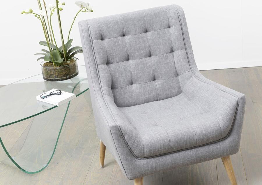 fauteuil scandinave rtro gris 4 pieds en bois naturel amadeus amad - Fauteuil Scandinave Enfant