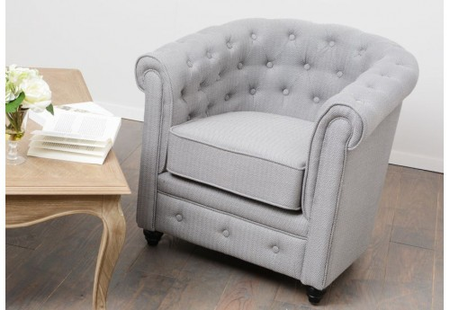 Chesterfield simple chevron gris clair amadeus