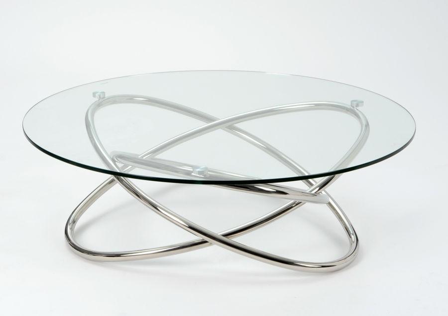 Table Basse Ronde Moderne En Verre Et Pied Metal Amadeus
