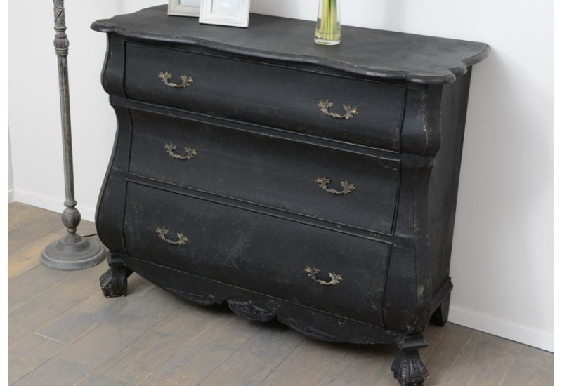 commode 3 tiroirs pattes de lion baroque noire amadeus. Black Bedroom Furniture Sets. Home Design Ideas