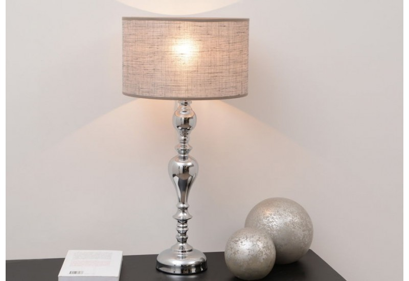 lampe poser baroque chandelle argent et son abat jour en. Black Bedroom Furniture Sets. Home Design Ideas