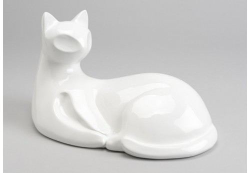 Statue chat assis moderne blanc amadeus