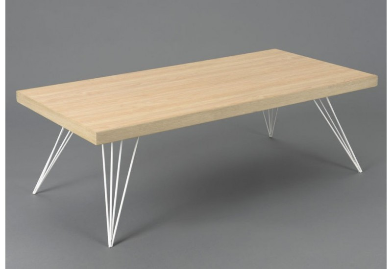 Table basse scandinave playroom pieds m tal blanc et - Table basse bois pied metal ...