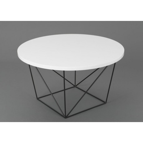 Table basse ronde design moderne glossy pieds m tal noir for Table filaire