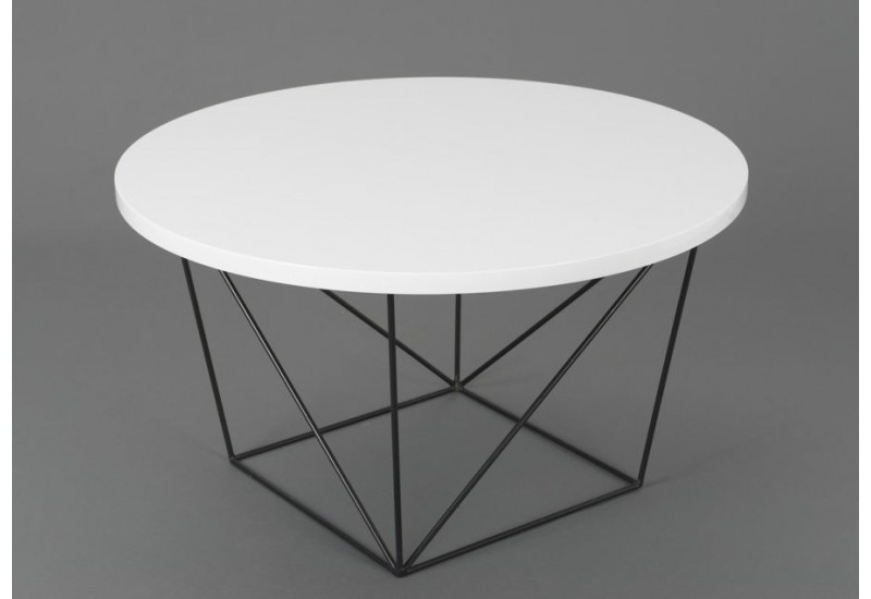 Table basse ronde design moderne glossy pieds m tal noir - Table basse metal noir ...