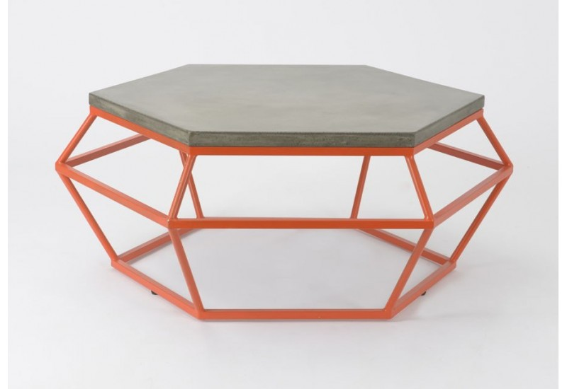 Table basse beton et metal for Table basse orange