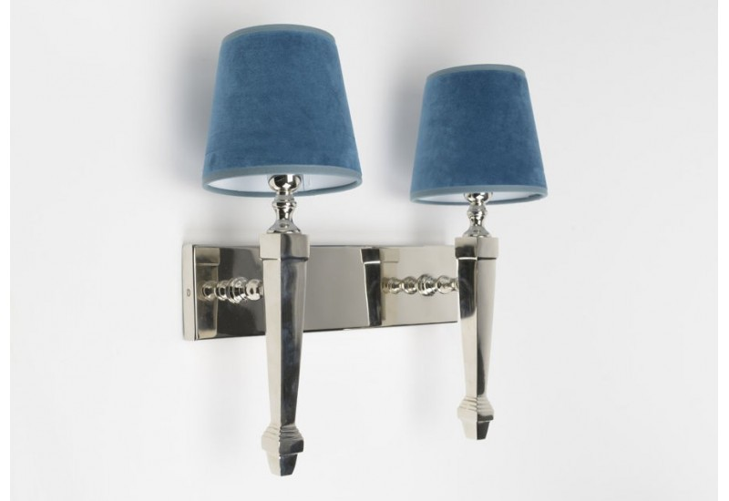 applique murale chrome chic et abat jour bleu canard. Black Bedroom Furniture Sets. Home Design Ideas