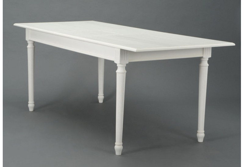 table manger rectangulaire avec allonge blanche romantique agathe. Black Bedroom Furniture Sets. Home Design Ideas