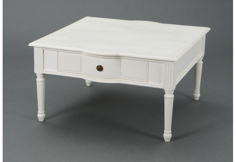 table basse carr e blanche romantique avec 1 tiroir agathe. Black Bedroom Furniture Sets. Home Design Ideas