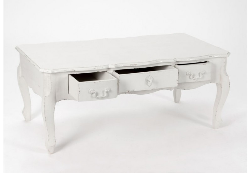 table basse 3 tiroirs blanc vieilli harpe amadeus amadeus 19456. Black Bedroom Furniture Sets. Home Design Ideas