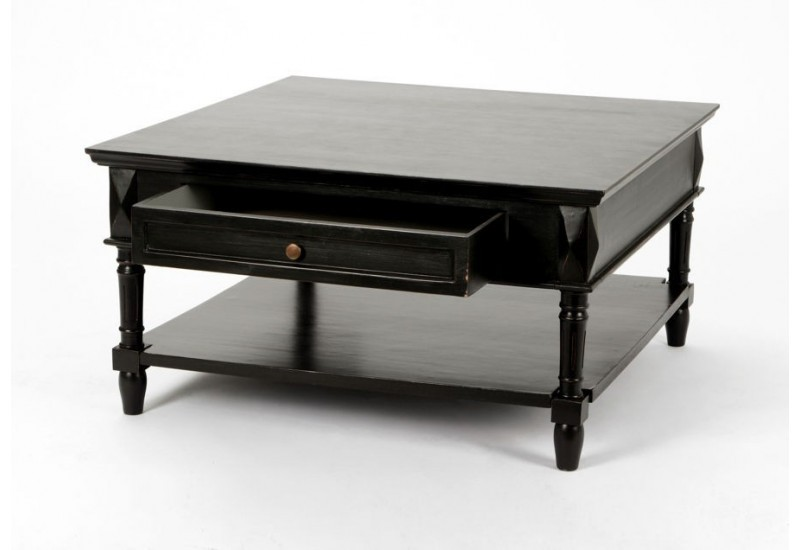 table basse de salon noire avec 1 tiroir bruges amadeus. Black Bedroom Furniture Sets. Home Design Ideas