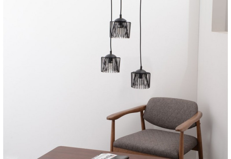 suspension scandinave filaire noire 3 lampes amadeus. Black Bedroom Furniture Sets. Home Design Ideas