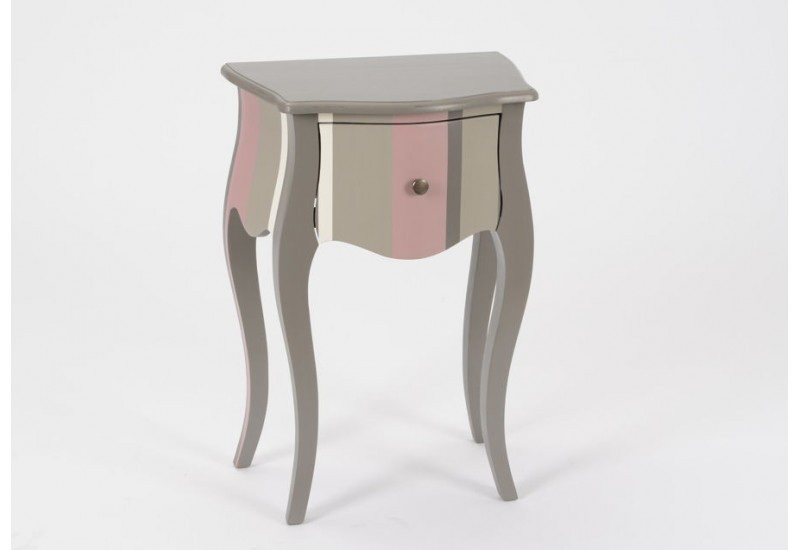 table de chevet h ritier baroque bayad re gris et rose. Black Bedroom Furniture Sets. Home Design Ideas