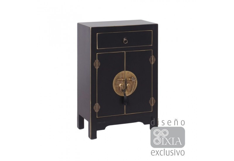 petit buffet chinois noir et or 2 portes et 1 tiroir 45 x 26 x 69 c. Black Bedroom Furniture Sets. Home Design Ideas