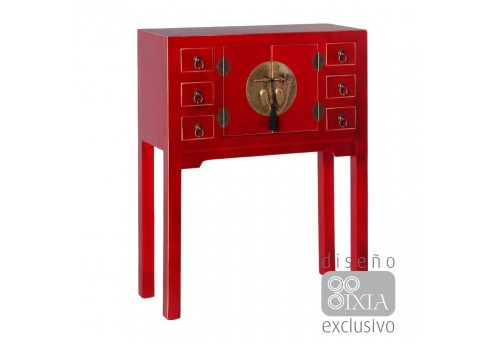 Console Chinoise rouge  63 X 26 X 80 CM By Auxportesdeladeco