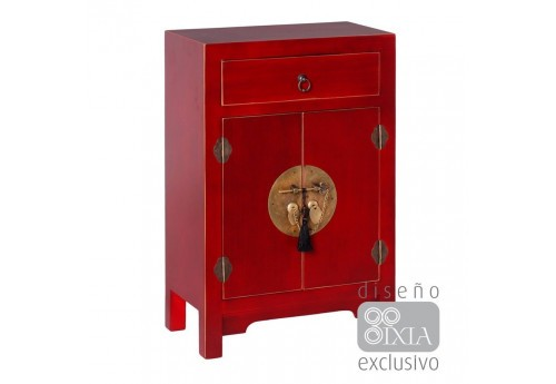 petit buffet chinois rouge  45 X 26 X 69 CM By Auxportesdeladeco