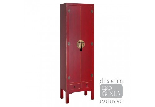 Armoire 2 portes chinoise rouge 55 X 33 X 185 CM By Auxportesdeladeco