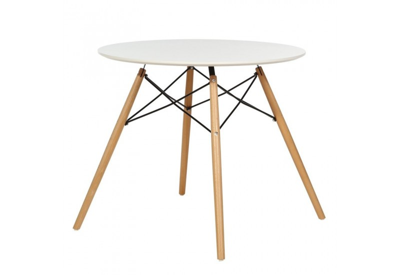 Table ronde blanche style r tro scandinave 80 x 80 x 72 cm for Table blanche et bois