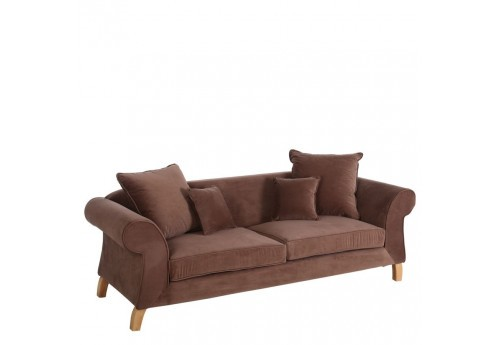 Canapé moderne 3 places en velours marron  220 X 90 X 76 CM By Auxportesdeladeco
