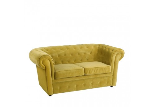 Canapé Chesterfield chic 2 places en velours vert 168 X 90 X 76 CM By Auxportesdeladeco