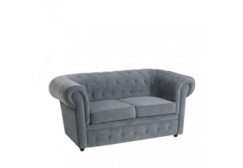 Canapé Chesterfield chic 2 places en velours bleu 168 X 90 X 76 CM By Auxportesdeladeco