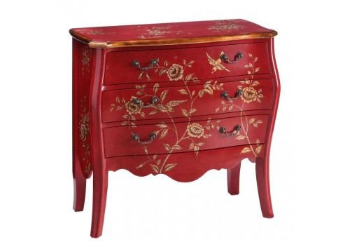 Commode rouge et or fleurs 95 X 46 X 90 CM By Auxportesdeladeco