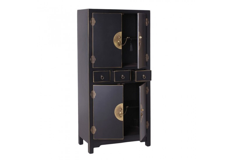 armoire chinoise noire 63 x 33 x 131 cm by. Black Bedroom Furniture Sets. Home Design Ideas