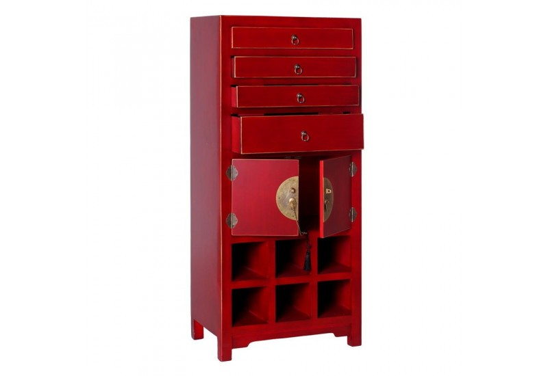 petite armoire chinoise rouge 55 x 33 x 125 cm by auxportesdeladeco. Black Bedroom Furniture Sets. Home Design Ideas