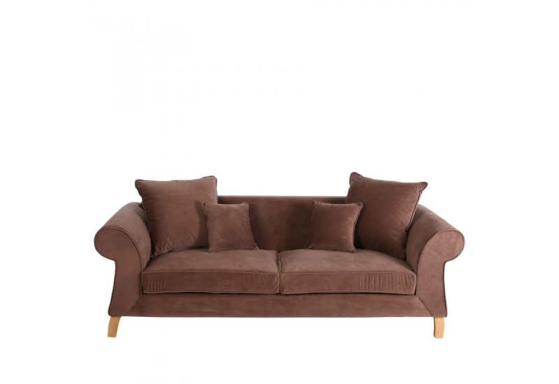 Canap moderne 3 places en velours marron 220 x 90 x 76 cm for Canape 90 cm profondeur