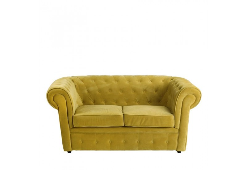 Canap chesterfield chic 2 places en velours vert 168 x 90 for Canape chesterfield en velours