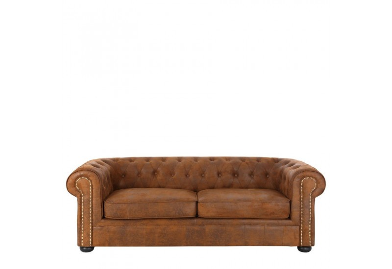 Canap 3 places chesterfield finition clout e marron vieilli 213 x - Canape marron vieilli ...